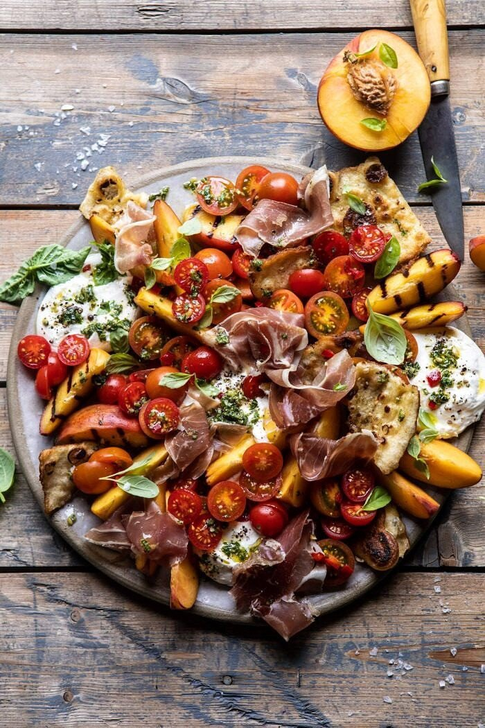Peach Caprese Salad with Toasted Garlic Naan | halfbakedharvest.com #salad #peaches #burrata