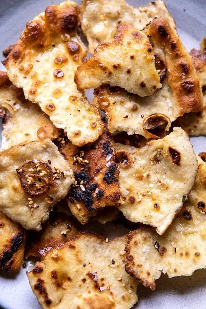 overhead photo of Toasted Garlic Naan