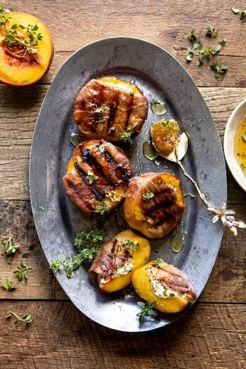 Prosciutto Goat Cheese Stuffed Peaches with Thyme Honey.
