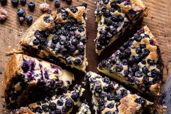 horizontal photo of Simple Blueberry Basque Cheesecake