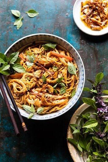 Spicy Peanut Noodles with Chili Garlic Oil | halfbakedharvest.com #peanutnoodles #easyrecipes #dinner #healthy