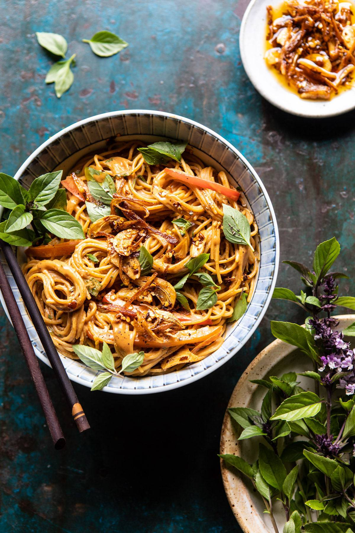 Spicy Peanut Noodles with Chili Garlic Oil