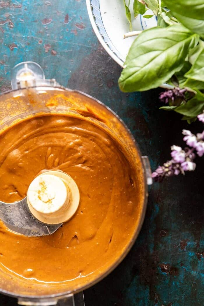 Spicy Peanut sauce in food processor bowl