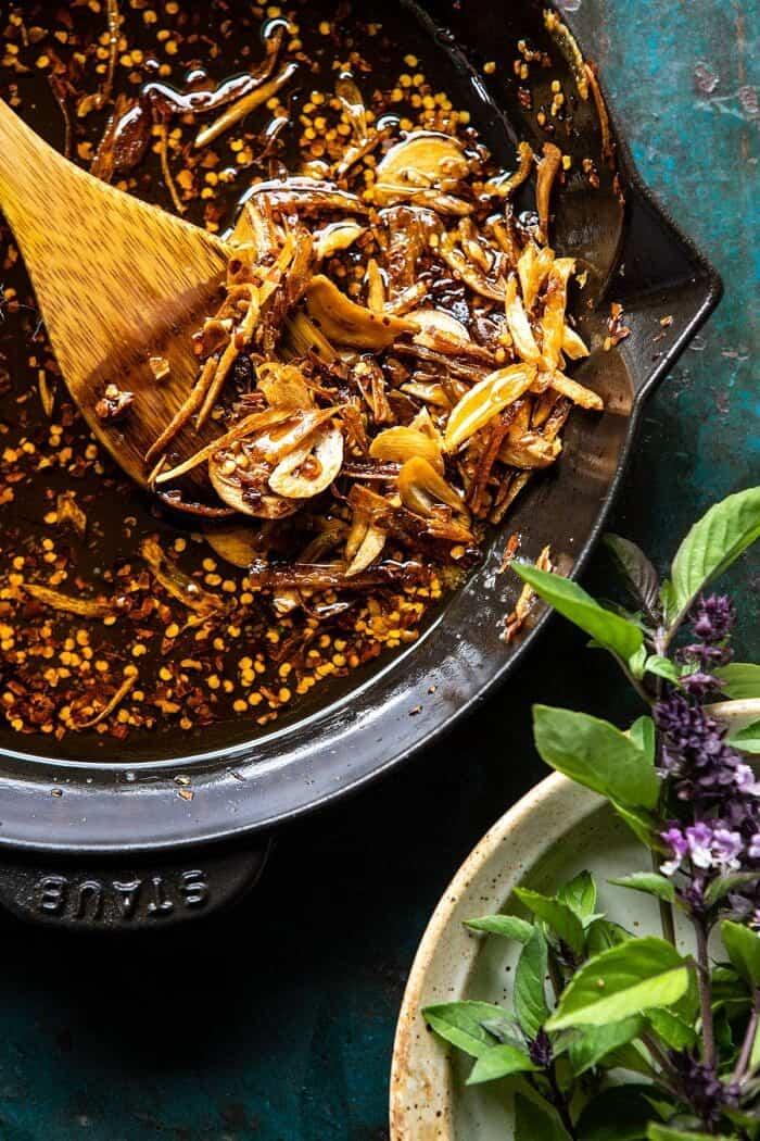 Chili Garlic Oil in skillet