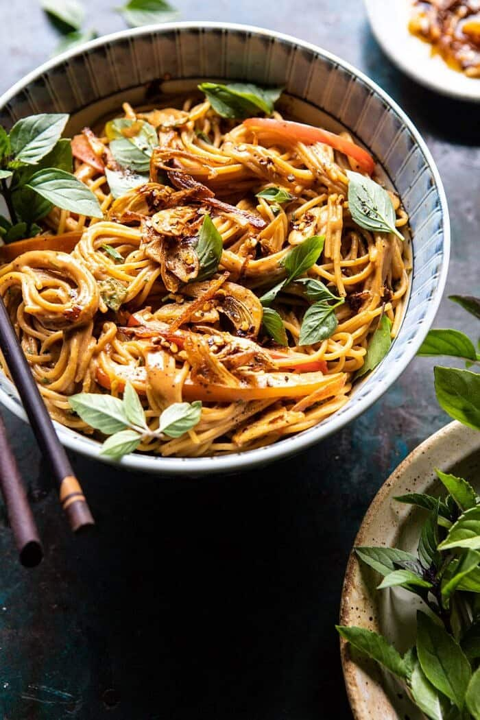 side angled photo of Spicy Peanut Noodles with Chili Garlic Oil