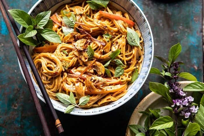 horizontal photo of Spicy Peanut Noodles with Chili Garlic Oil