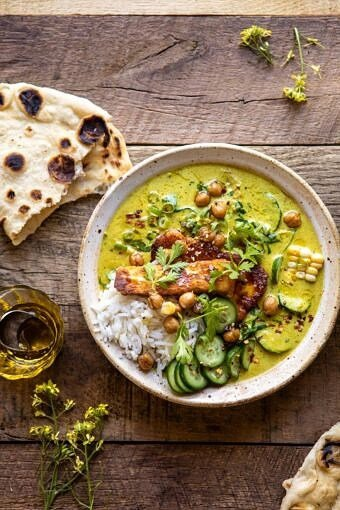 Summer Coconut Chickpea Curry with Rice and Fried Halloumi | halfbakedharvest.com #coconut #vegan #curry #easyrecipes #summer