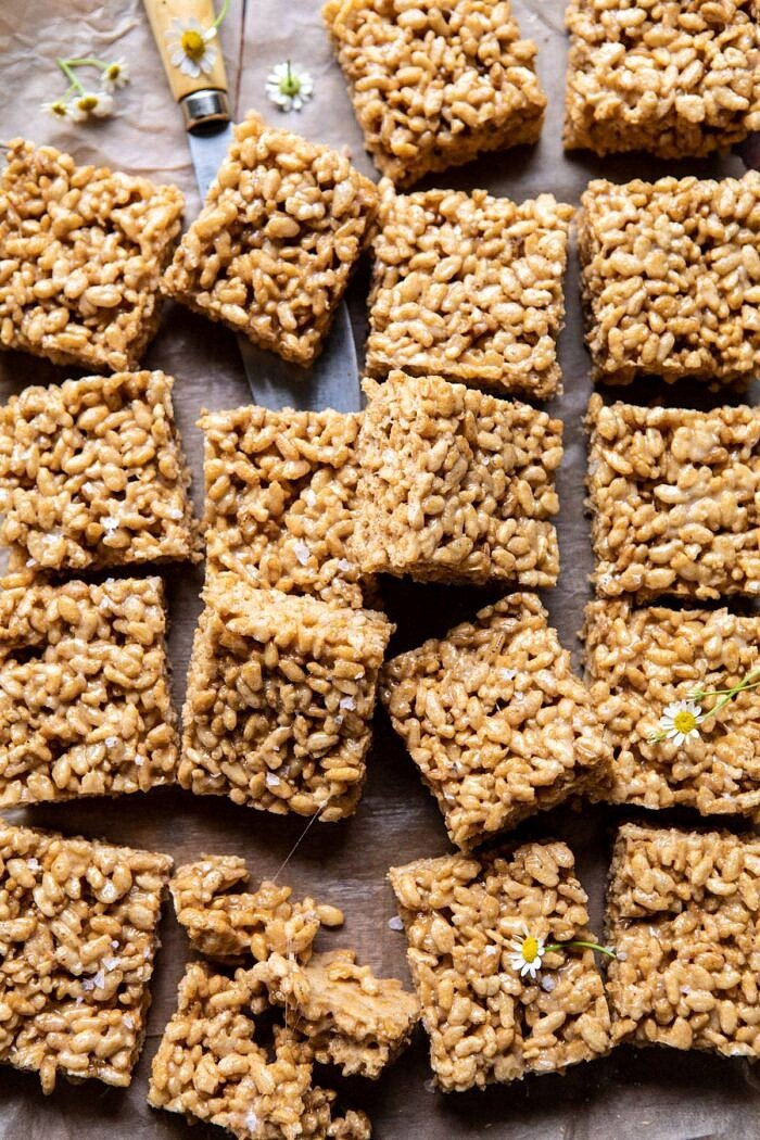 Better Than Mom's Brown Butter Rice Krispie Treats | halfbakedharvest.com #ricekrispietreats #healthier #easy #backtoschool #dessert