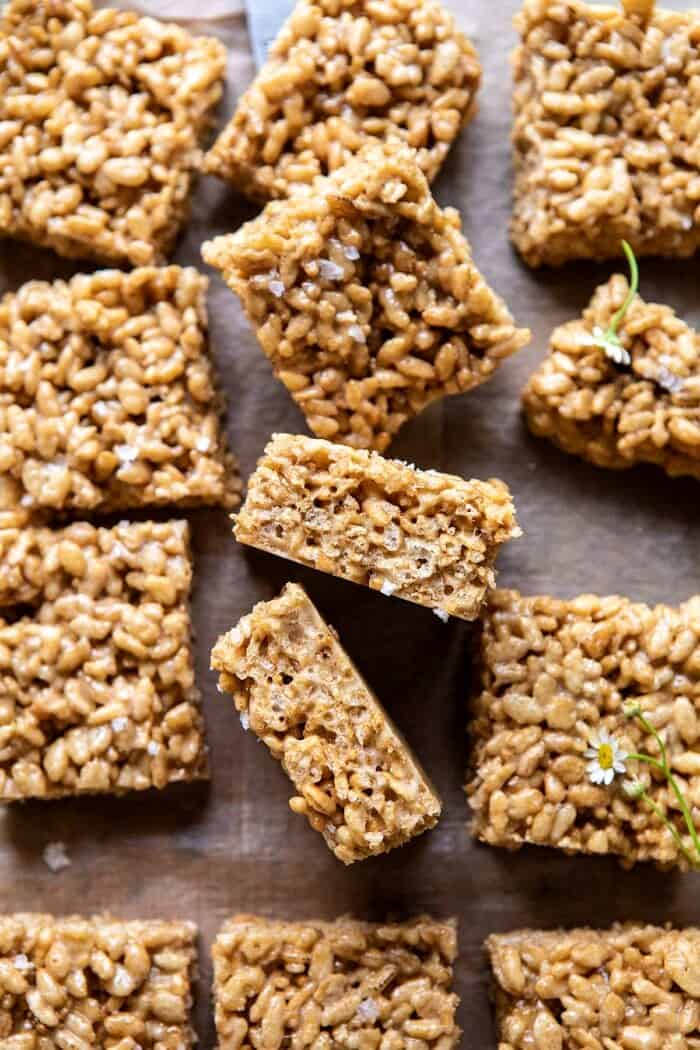 overhead close up photo of Better Than Mom's Brown Butter Rice Krispie Treats