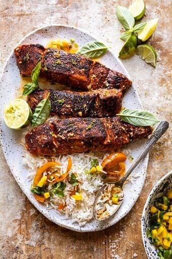 Cilantro Lime Salmon with Mango Salsa | halfbakedharvest.com #salmon #easyrecipes #healthyrecipes #dinner