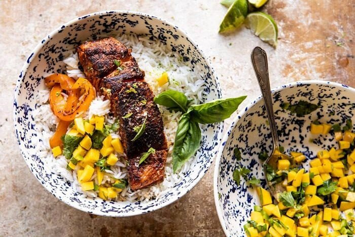 overhead photo Cilantro Lime Salmon with Mango Salsa in bowls of rice