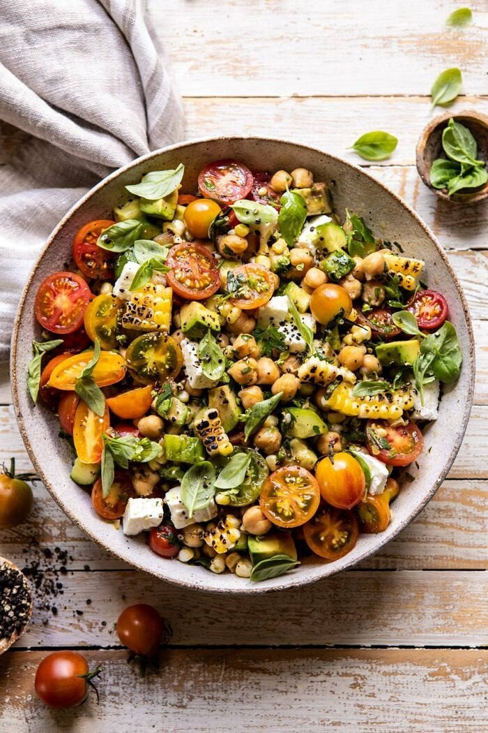 Corn, Tomato, and Avocado Chickpea Salad | halfbakedharvest.com #healthy #tomatosalad #quick #mealprep