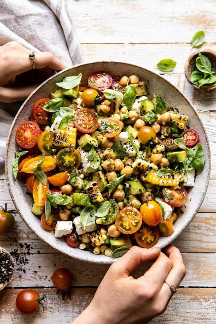 Corn, Tomato, and Avocado Chickpea Salad | halfbakedharvest.com #healthy #tomatosalad #quick #mealprep