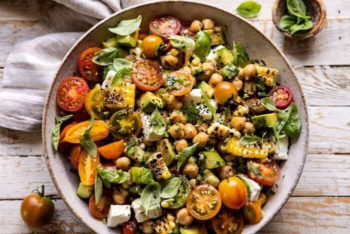 horizontal photo of Corn, Tomato, and Avocado Chickpea Salad
