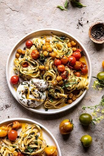 Jammy Cherry Tomato Pasta with Crisp Lemon Rosemary Chickpeas | halfbakedharvest.com #pasta #tomatoes #burrata