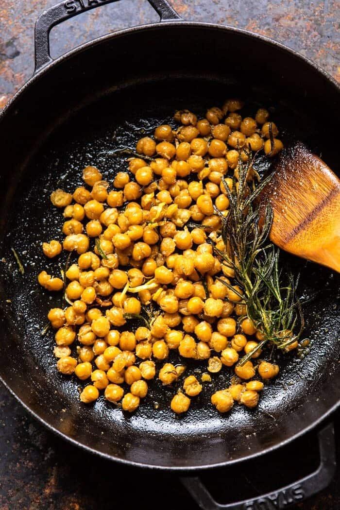 Crisp Lemon Rosemary Chickpeas in skillet