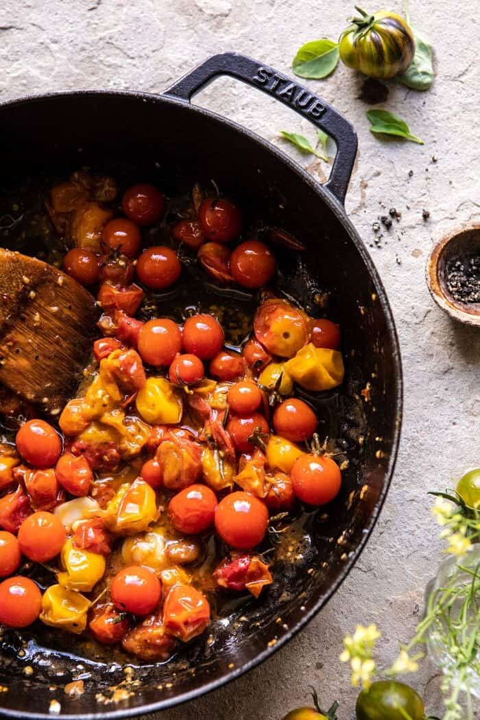 Jammy Cherry Tomatoes in skillet