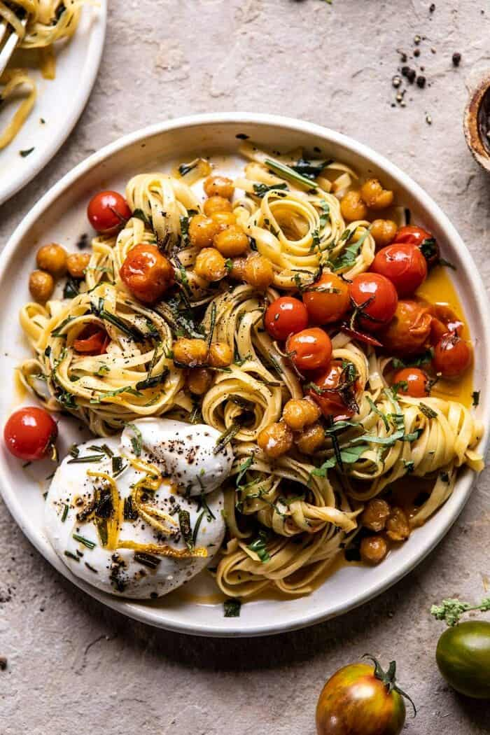 Jammy Cherry Tomato Pasta with Crisp Lemon Rosemary Chickpeas | halfbakedharvest.com #pasta #tomatoes #burrata