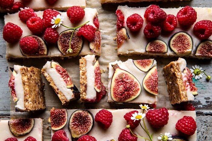 horizontal photo of No Fuss Healthy Coconut Tart cut into bars