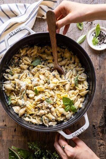 One Pot Lemon Basil, Corn, and Ricotta Pasta.