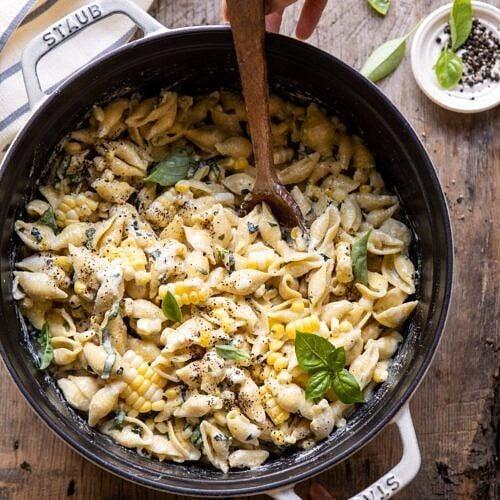 One Pot Lemon Basil Corn And Ricotta Pasta Half Baked Harvest