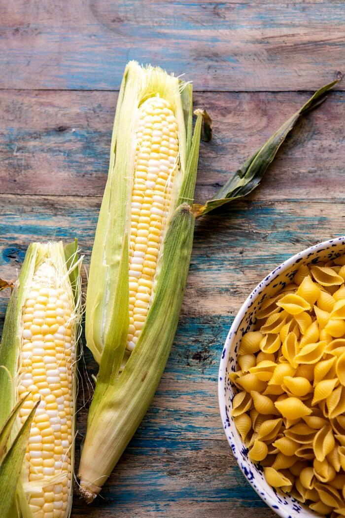 raw corn photo with dry pasta