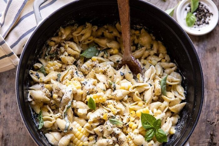 horizontal photo of One Pot Lemon Basil, Corn, and Ricotta Pasta