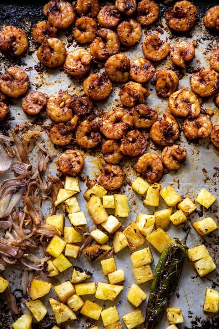 shrimp and pineapple on sheet pan after cooking