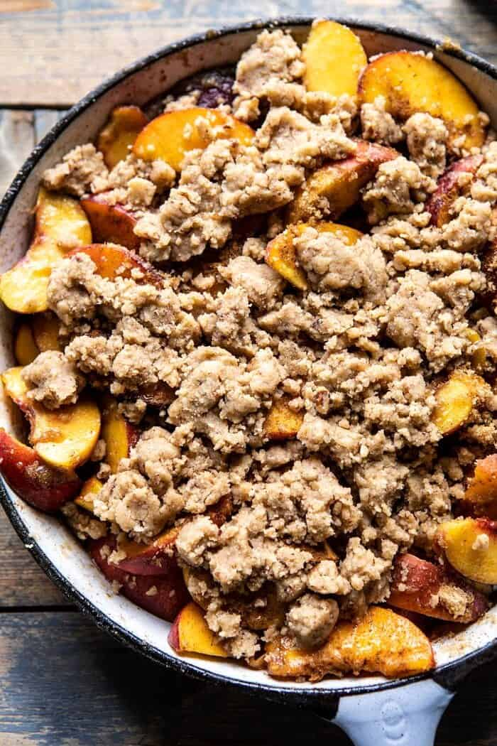 overhead photo of Skillet Brown Sugar Peach Cobbler before baking