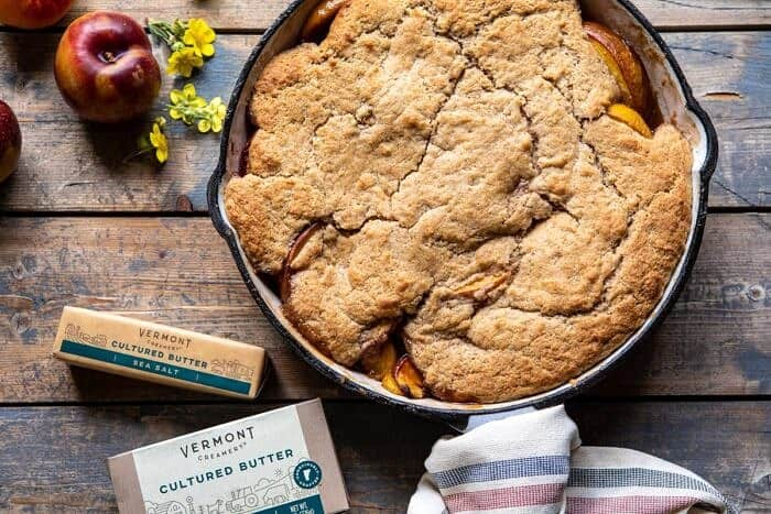 horizontal photo of Skillet Brown Sugar Peach Cobbler
