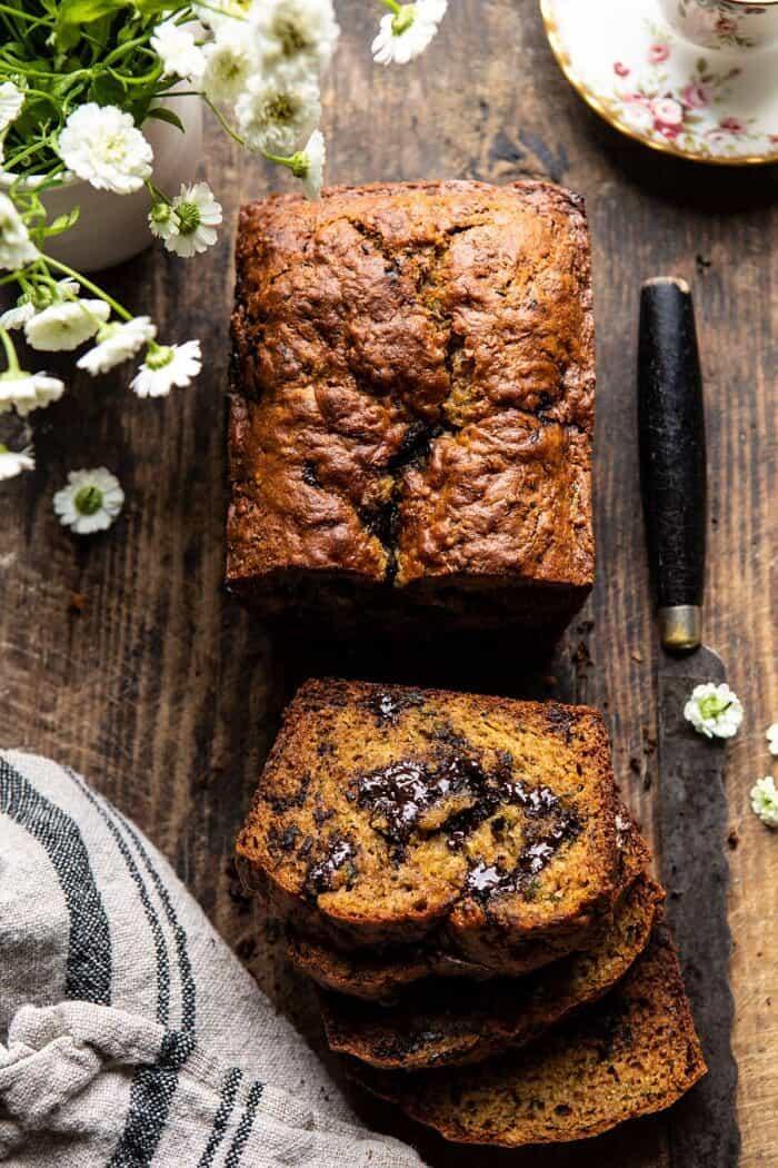 Sneaky Zucchini Chocolate Chunk Coconut Bread | halfbakedharvest.com #zucchini #zucchinibread #chocolate #healthy