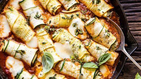 Spicy Pesto and Cheese Stuffed Zucchini Involtini.