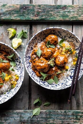 Weeknight 30 Minute Coconut Curry Chicken Meatballs.