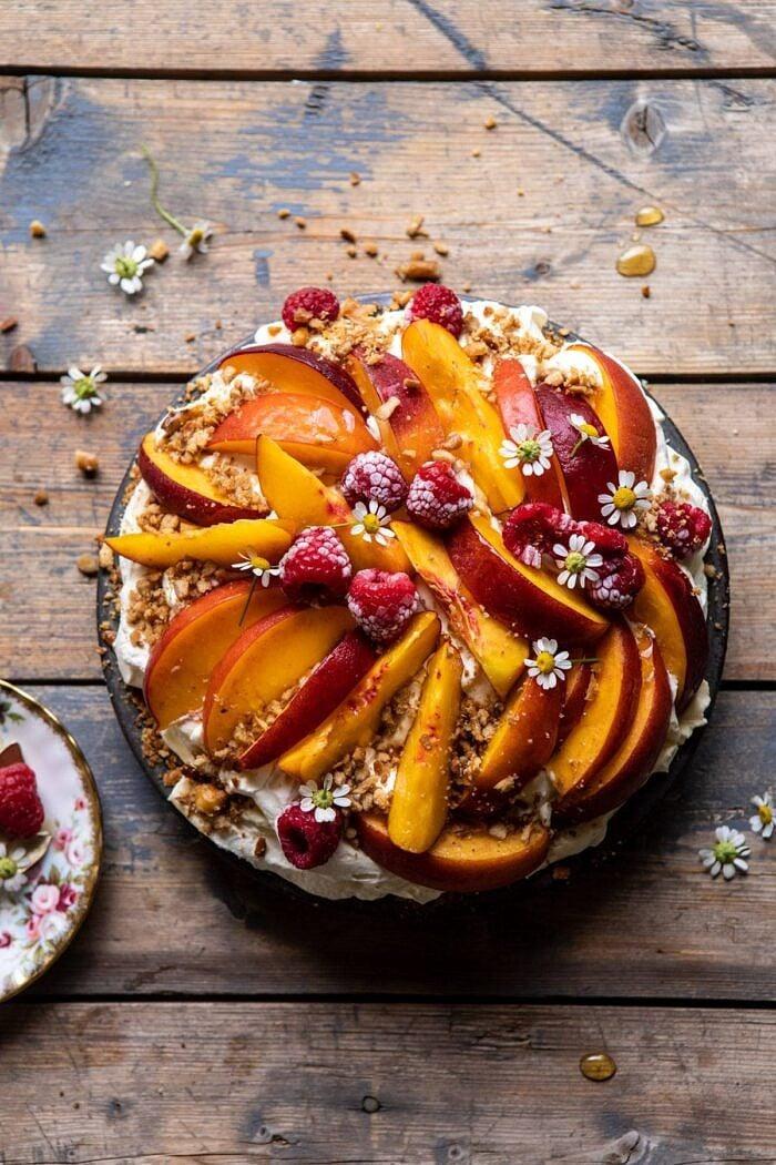 overhead photo of Peaches and Cream Pretzel Pie