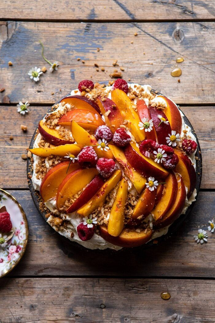 Peaches and Cream Pretzel Pie | halfbakedharvest.com #pie #peach #summer #dessert #easy