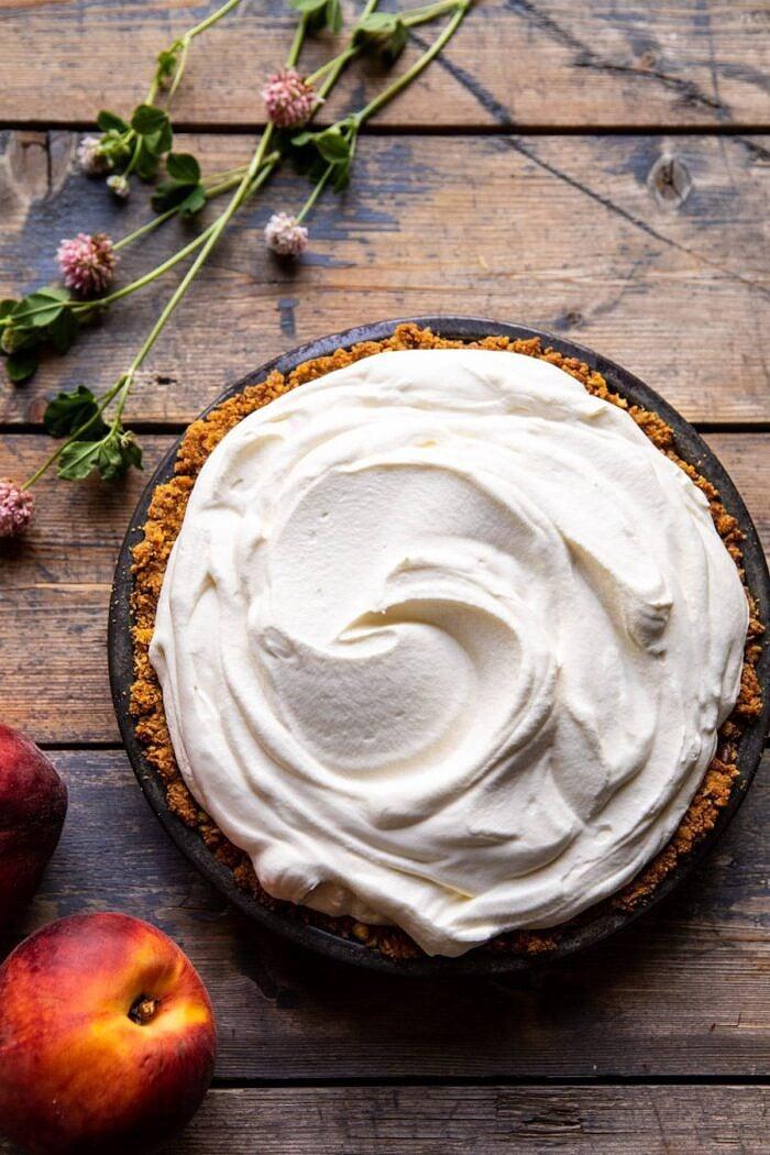 overhead photo of Peaches and Cream Pretzel Pie before adding the peaches