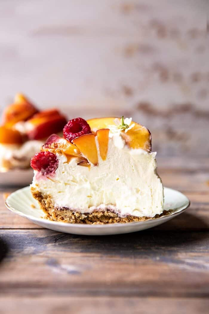 Peaches and Cream Pretzel Pie | halfbakedharvest.com #pie #peach #summer #dessert #easy