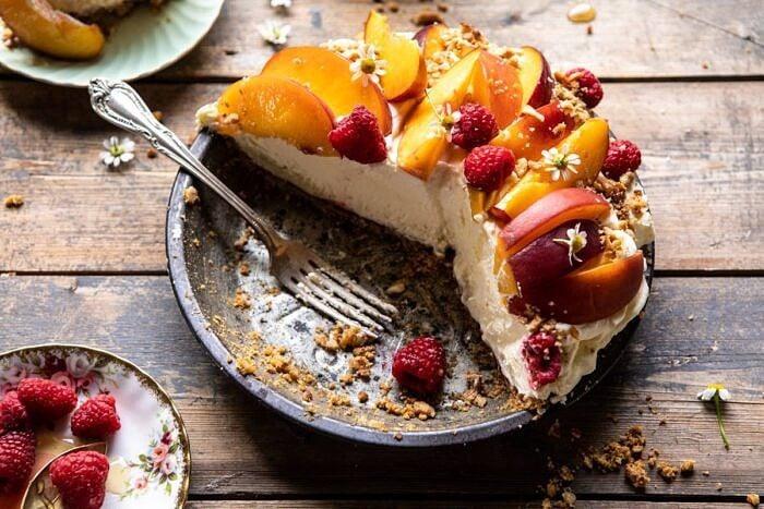 horizontal photo of Peaches and Cream Pretzel Pie