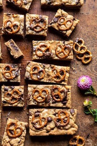 Chocolate Peanut Butter Pretzel Blondies | halfbakedharvest.com #peanutbutter #chocolate #pretzels #fall #autumn #dessert