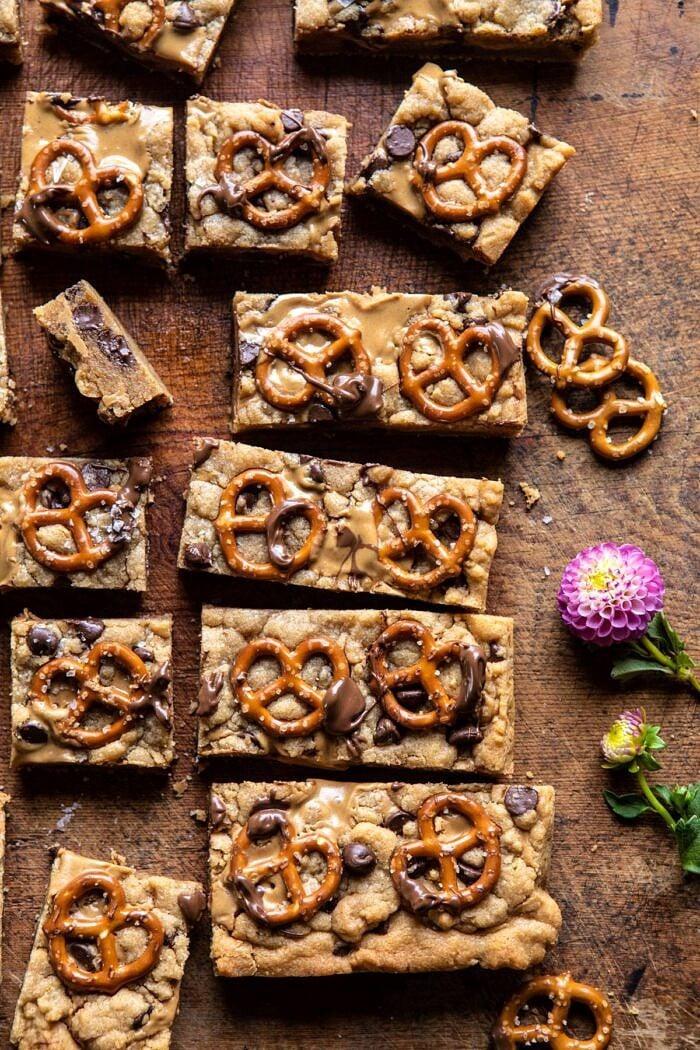 overhead photo of Chocolate Peanut Butter Pretzel Blondies