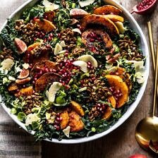 Fall Harvest Roasted Butternut Squash and Pomegranate Salad.