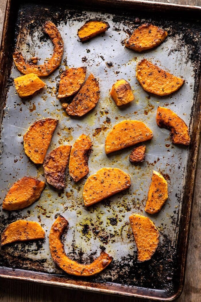 overhead photo of Roasted Butternut Squash on baking sheet