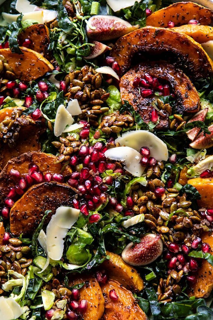 overhead close up photo of Fall Harvest Roasted Butternut Squash and Pomegranate Salad