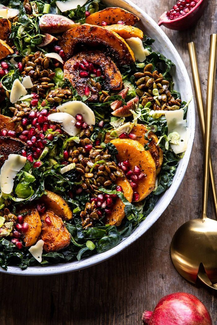 side angled photo of Fall Harvest Roasted Butternut Squash and Pomegranate Salad