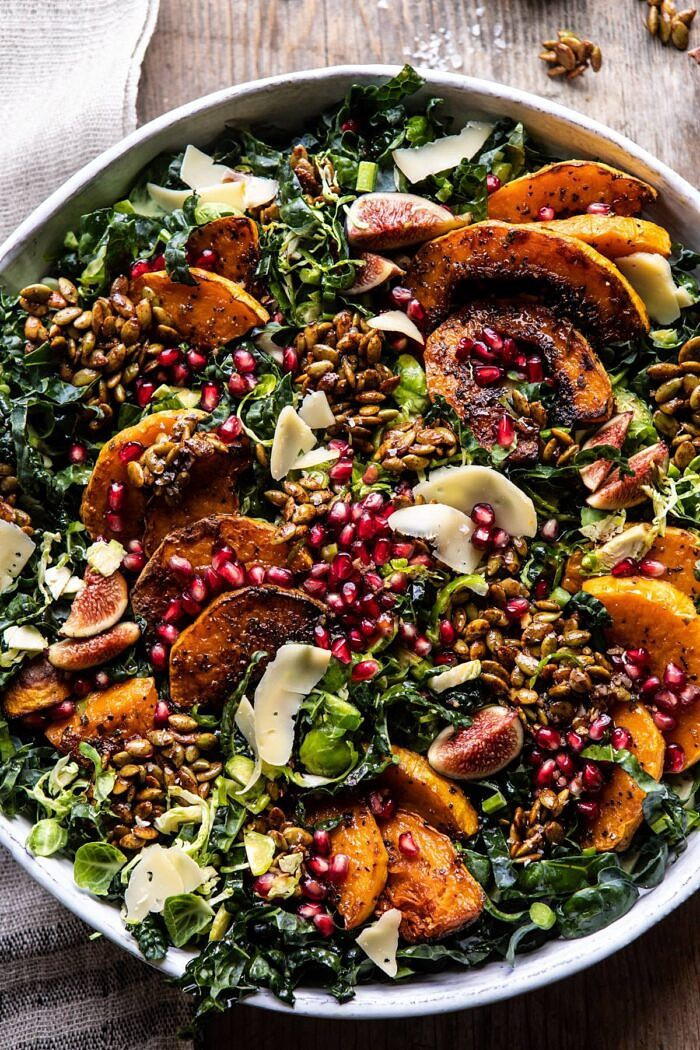 overhead photo of Fall Harvest Roasted Butternut Squash and Pomegranate Salad