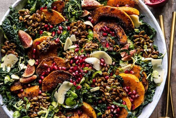 horizontal photo of Fall Harvest Roasted Butternut Squash and Pomegranate Salad
