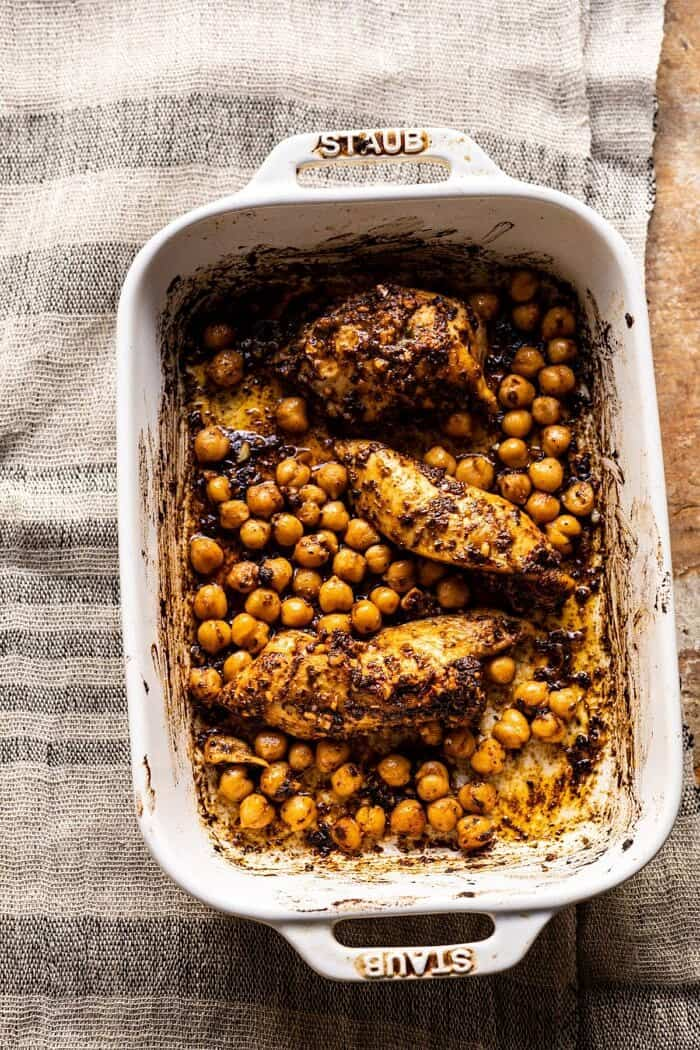 chipotle chicken and chickpeas in baking dish