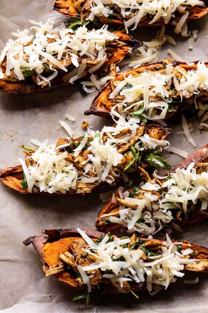 overhead photo of Healthy Chipotle Chicken Sweet Potato Skins before baking
