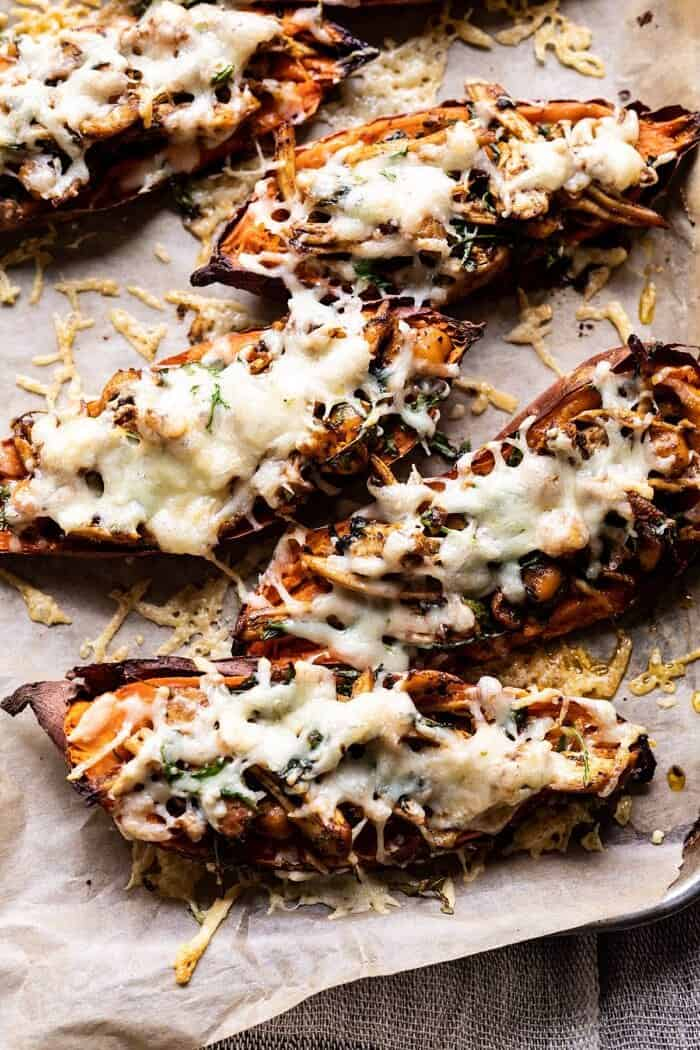 overhead photo of Healthy Chipotle Chicken Sweet Potato Skins on baking sheet after baking