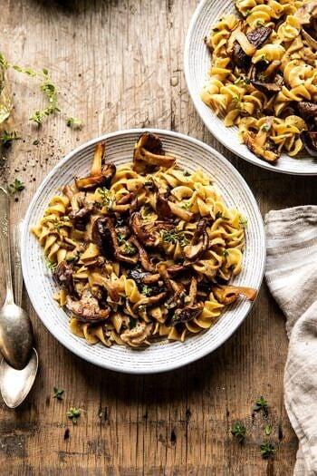 Herby Buttered Mushroom Stroganoff | halfbakedharvest.com #easyrecipes #familydinner #autumn #cozyrecipes #fallrecipes